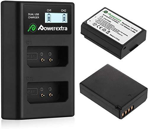 Powerextra 2 X Batteries de Remplacement pour LP-E10 Double Chargeur USB Écran LCD pour EOS Rebel T3 T5 T6 Kiss X50 Kiss X70 EOS 1100D EOS 1200D EOS 1300D EOS 4000D EOS 3000D EOS 2000D