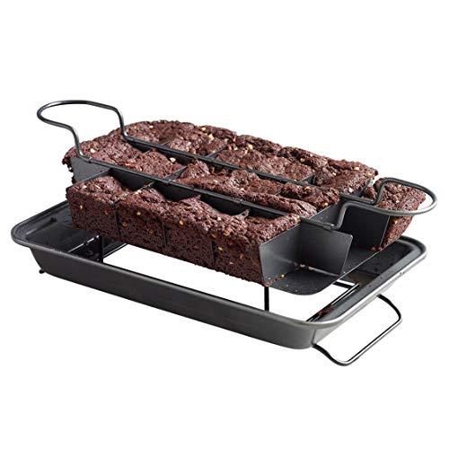 Kingrol Nonstick Brownie Pan Baking Pan with BuiltIn Slicer amp Rack