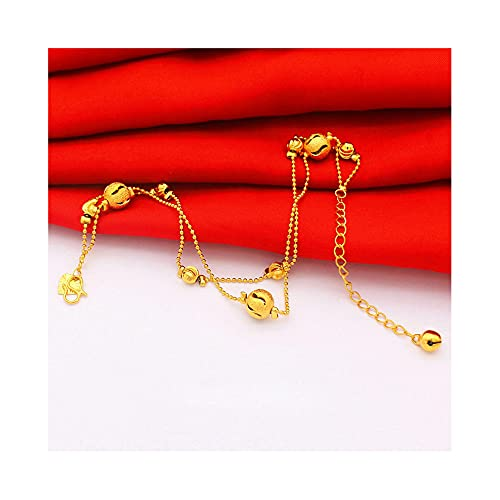 QGGESY Pulsera de Tobillera de Oro Simple para Mujer, Pulseras de Tobillo de Playa de Verano delicadas chapadas en Oro para Mujer,B