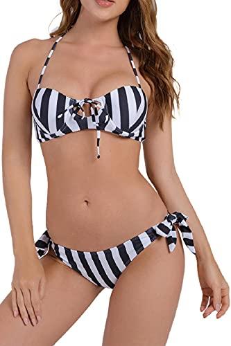 Voqeen Traje de baño a Rayas con Tirantes Halter para Mujer Conjunto de Bikini con Vendaje Push Up Braga de Bikini con Anudado Lateral Mujer Estuche Blando con Estampado de Dos Piezas(Negro,XXL)