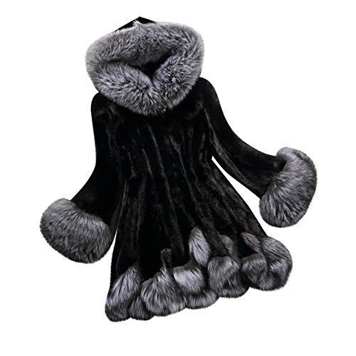 Übergröße Windjacke Damen,Elecenty Frauen Webpelz Mäntel Winter Elegant Solide Trenchcoat Mit Kapuze Flauschige Wintermantel Warm Damenjacken