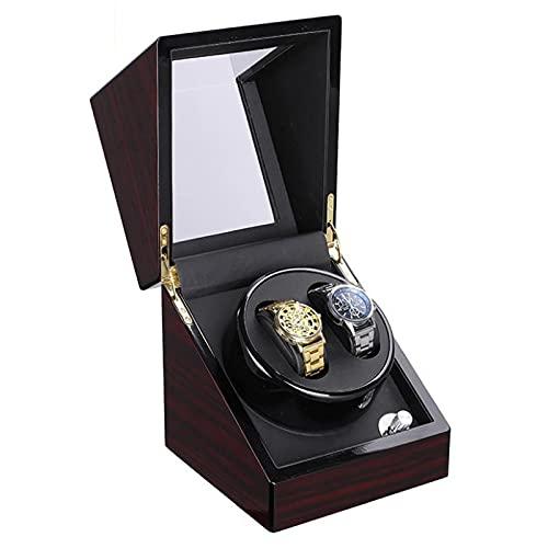 Caja Giratoria para Relojes Reloj Mecánico Caja De Enrollador, Coctelero Eléctrico De 2 Dígitos Pintura De Sándalo Rojo De 2 Dígitos Dispositivo De Bobinado Automático Silencioso Control(Color:marrón)