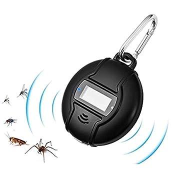 Mobile Solaire Anti-Moustique À Ultrasons Portable - Contrôle Des Insectes Anti-Moustique Électrique Extérieur/Intérieur Anti-Mouche Avec Boussole Et Mousqueton,Noir