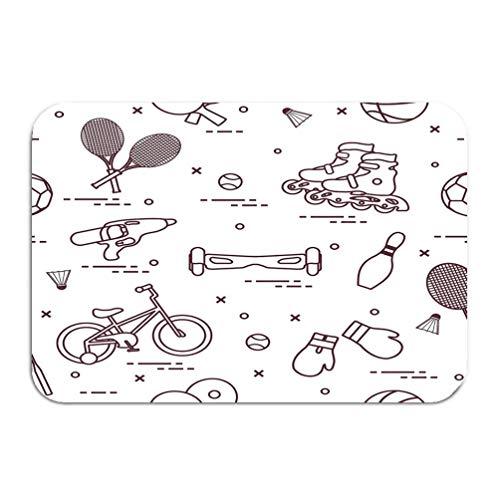 Amanda Walter Fußmatte Eingangsmatte Bodenmatte Teppich rutschfeste Badematten 23,6 'x 15,7' Fahrradrollen Gyroscooter Boxhandschuhe Wasser Pisto