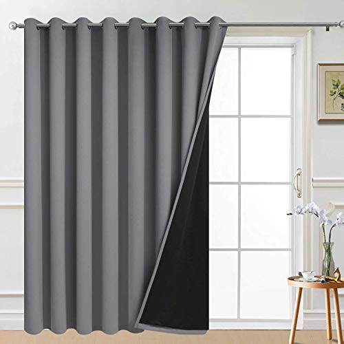 Yakamok 100% Wide Blackout Curtain 100 x 84 Inches for Sliding Glass Door, Grommet Light Blocking Thermal Insulated Room Divider Curtain for Living Room, 1 Panel,8.3ft Wide x 7ft Tall, Grey