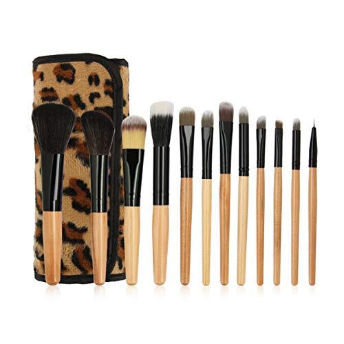 Juego de 12 brochas de maquillaje para base de maquillaje, colorete y labios, brocha de madera