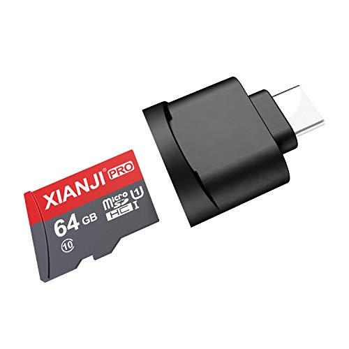 Micro SD Kartenleser USB C, Typ C Card Reader für Micro SD/ MicroSDHC / MicroSDXC mit OTG-Funktion, Kamera Speicherkarten Leser für Micro SD-Karte / TF-Karte, Plug and Play, Schwarz