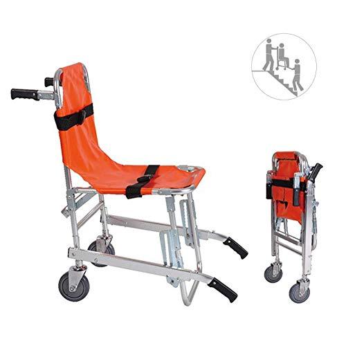 GLJY HGFLYL EMS Treppenstuhl aus Aluminiumlegierung - Leichtgewichtiger, zusammenklappbarer Rettungswagen-Feuerwehrmann-Evakuierungsstuhl für Rettungswagen mit Schnellverschluss, orange