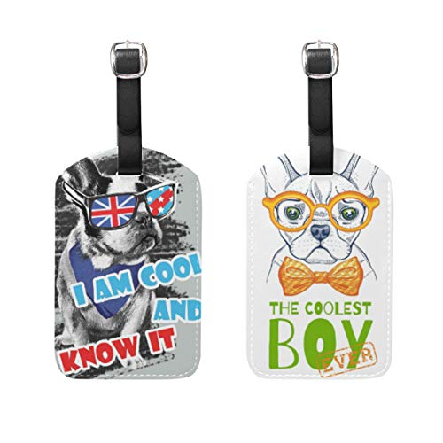 AGONA Luggage Tags Painted French Bulldog Cute Cool PU Leather Travel Bag Tag Suitcases ID Identifier Labels Baggage Label - Set of 2