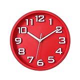 GYQYYGZ Orologio da Parete Orologio da Parete Decorativo Tondo Muto Digitale Tridimensionale Orologio da Parete for Ufficio/Camera da Letto casa con Batteria .Orologio (Color : Red)
