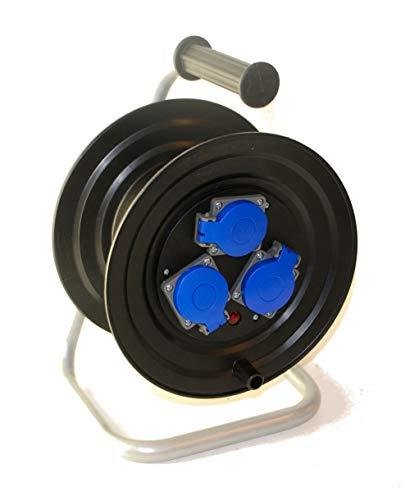 AW-TOOLS Sicherheits-Kabeltrommel 3 x16A/230V Schuko ohne Kabel Baustromkabel-Trommel 25m