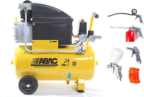 COMPRESSORE D'ARIA LT.24 POLE POSITION B20 8 BAR 2HP ART,1129981008- CON KIT 5 PEZZI ART.-ABAC 8973005547