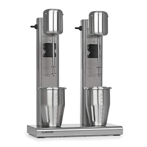 Klarstein Kraftpaket II Pro Doppel Drink Mixer, 160 Watt, 2 x 1 L, 2 Stufen, 20000 U/min, 2 Mixbecher aus Edelstahl, Milk- & Proteinshake, Doppel-Getränkemixer, Cocktail, Bar Mixer, Gastro, silber