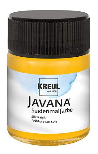Kreul 8122 - Javana Seidenmalfarbe, hochpigmentierte und brillante Farbe auf Wasserbasis, mit fließend flüssigem Charakter, dringt tief in die Fasern ein, im 50 ml Glas, sonnengelb