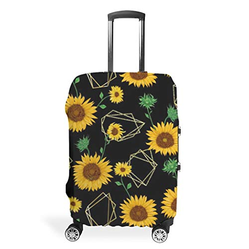 NiTIAN Luggage Covers Fashion Spandex Baggage Suitcase Cover Dustproof Anti-Thief Baggage Covers Sunflower Theme White m (60x81cm)