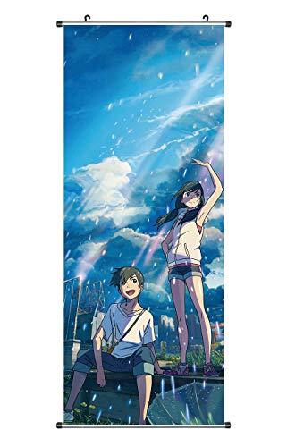 CoolChange Großes Weathering with You Rollbild | Kakemono aus Stoff | Poster 100x40cm | Motiv: Hodaka & Hina