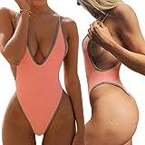 ALLureLove Swimsuits for Women Sexy Monokini Deep V One Piece Bathing Suits Backless Cheeky Swimwear Semi Thong Bikini (A-Pink, Small)