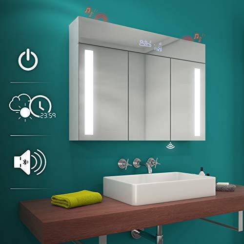 Artforma Spiegelschrank mit LED Beleuchtung Badschrank A++ | Schalter, WETTERSTATION, Bluetooth Lautsprecher, LED Uhr (Breite 100 cm & Höhe 72 cm, Alpines Weiß)