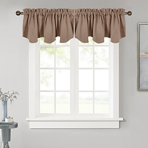 NICETOWN Blackout Scalloped Tier Drape - 52 inches by 18 inches Energy Efficient Rod Pocket Valance Window Treatment Tier Curtain for Dorm/Bedroom, Cappuccino, 1 Piece