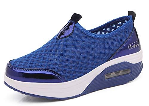 Sneakers Femme Slip-on Mesh Respirante Extérieur Athlétique Marchant Poids Léger Coussin Air Doux Plate-Forme Chaussures Bleu 36 EU