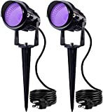 SUNVIE 12W LED Black Lights Blacklight Landscape Lighting Outdoor Spotlights with US Plug IP66 for Dance Party Glow in The Dark Stage Lighting Aquarium Body Paint Fluorescent Poster Neon Glow (2 Pack)