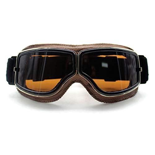 Gafas De Moto,Gafas De Motocross Gafas de gafas de motocicleta retro Vintage Motocicleta GOG GLES GLES OTRIENTES DEPORTES DE CUERO for LOS GRASA DE AVIATOR (Color : Goggles style 8)