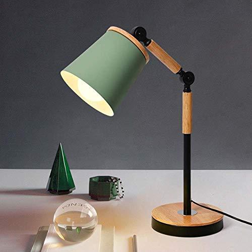 Protección de los ojos lámpara de mesa de madera maciza de LED mesa de estudio del estudiante de universidad dormitorio nórdico IKEA simple lámpara de lectura moderna Mesita de noche Dormitorio,Verde