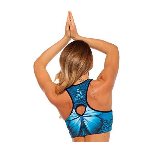 Excess Sujetador Deportivo para Mujer Shock Absorber Alas Top Push Up Fitness Yoga Pilates Running Gimnasio Maillot de Ciclismo 3D de Fiesta Mujer Sexy Italiano Camisetas Dim Azul M