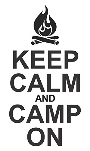 Wall Decor Plus More WDPM3803 Keep Calm & Camp On Camper Or Rv Summer Quotes Wall Decals Sticker, with Campfire Art, Black, 23x12