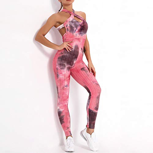 Mujer Costura Siamés Tie-Dye Bubble Yoga Pantalones Cintura Alta Contorno sin Costuras Correr Entrenamiento Control de Abdomen Botín Levantamiento de glúteos Medias Leggings