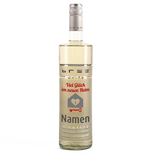 private Wine BREE Weißwein Riesling feinherb (1x 0.75 l) als Geschenk zum Einzug mit Namensaufdruck
