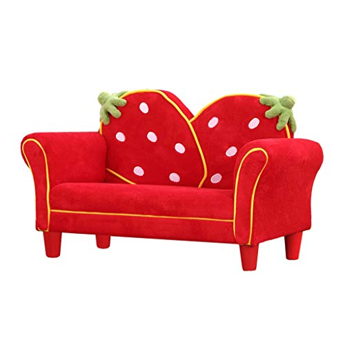 JBDLDL-L Kids Couches and Sofas Kids Sofa,Kids Couch Armrest Chair, Upholstered Living Room Furniture, Lounge Bed with Two Strawberry Pillows Kids' Furniture
