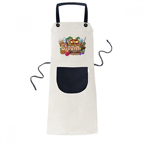 DIYthinker Prado Seafood España Graffiti delantal ajustable babero algodón lino barbacoa bolsillo cocina Pinafore