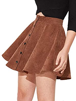 SheIn Women's Button Up Flare A-Line Corduroy Skater Cord Short Skirt Brown