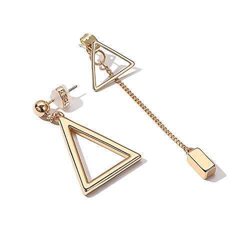 Pendientes colgantes delicados para mujer, pendientes colgantes con borla triangular geométrica asimétrica, pendiente con botón de perforación de espejo único
