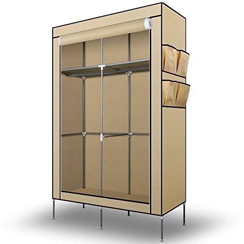 Intirilife Faltschrank 108x170x45 cm in CRÈME BEIGE - mit Reißverschluss Stoffschrank Kleiderschrank mit Kleiderstange, Fächern und Seitentasche - Camping Steckschrank Textil Garderobe