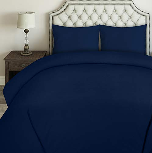 Utopia Bedding Duvet Cover Set - Brushed Microfibre Duvet Cover with 2 Pillowcases (Double, Navy Blue)