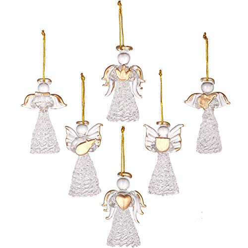 Sea Team Mini Sized Clear Glass Angel Ornaments for Christmas Tree Decorations, 60mm/2.36-inch, Set of 12 (Gold)