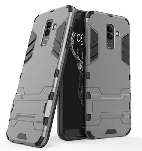 Samsung Galaxy J8 (2018) Funda, FoneExpert® Heavy Duty Silicona Slim híbrida con Soporte Cáscara de Cubierta Protectora de Doble Capa Funda Caso para Samsung Galaxy J8 (2018)