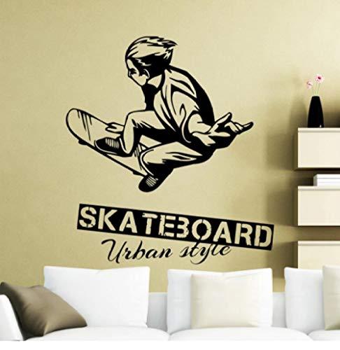 Skateboarding Wall Sticker Skater Patinador Estilo urbano Calcomanías de Pared Deportes Extreme Sports Vinyl Art Home Room Decor Wallpaper 42x46cm