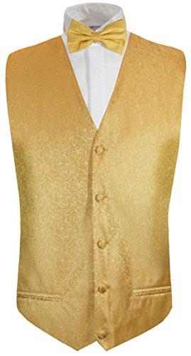 Paul Malone Hochzeitsweste + Fliege Gold barock - Hochzeit Herren Weste Gr. 56 XL