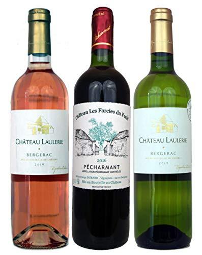 Bergerac & Pécharmant Weinpaket Frankreich (3x 0,75 l)