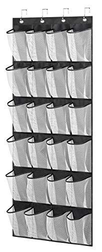 MISSLO Over The Door Organizer 24 Large Mesh Shoe Storage Pockets Black