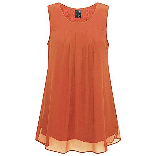 Fleasee Women's Sleeveless Chiffon Tank Top Double Layers Casual Flowy Tunic Blouse Orange