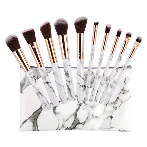 Yuccer 10 Pièces Pinceaux Maquillage Marbre Professionnel Pinceaux Maquillage Synthétique pour Liquide Poudre Fond de Teint Yeux Blush avec Sac à Cosmétiques (10 Pièces)