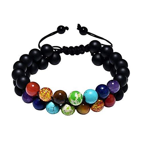 HZLS 8Mm Adjustable Chakra Natural Stone Bracelet Double Woven Rope Chain Yoga Healing Balance Bracelet Men Women Jewelry,Black