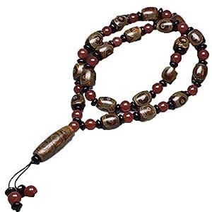 ZHIBO Halskette mit natürlichem Achat, Dzi-Perlen, tibetische Perlen