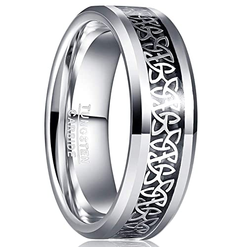 MEILING Tungsten Carbide Celtic Wedding Band Silver Engagement Ring for Men Celtic Knot Inlay 8mm High Polished Comfort Fit Size 8
