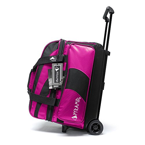 Pyramid Path Deluxe Double Roller with Oversized Accessory Pocket Bowling Bag (Black/Hot Pink)