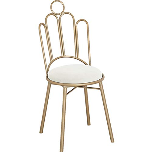 Kelendle Vanity Stool Metal Makeup Dressing Chair with Crown Backrest Round Velvet Seat Gold Metal Legs and Back Art Leisure Chair Seat Dining Chair Furniture Store Kids Room Chair (White)